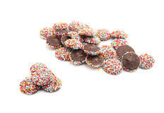 Chocolate with colorful sprinkles Royalty Free Stock Images