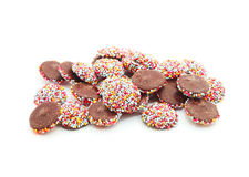 Chocolate with colorful sprinkles Royalty Free Stock Photography