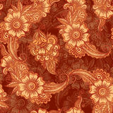 Chocolate colors floral seamless pattern in Indian Stock Images