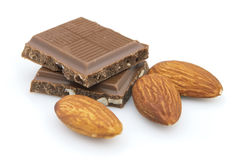 Chocolate com amêndoas Imagens de Stock