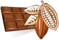Chocolate con el grano de cacao Imagen de archivo libre de regalías