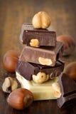Chocolate con las nueces foto de archivo