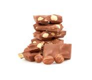 Chocolate con las tuercas aisladas Fotografía de archivo libre de regalías