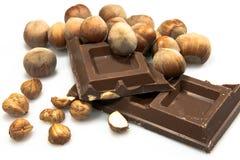 Chocolate con leche con las avellanas Fotografía de archivo libre de regalías