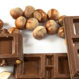 Chocolate con leche con las avellanas Fotografía de archivo
