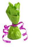 Chocolate  cone candy wrapped in green Royalty Free Stock Photography