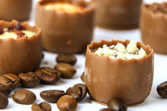 Chocolate confectionery with coffee beans Stock Images