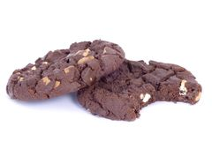 Chocolate Cookie. Chocolate chip cookie isolated over white Royalty Free Stock Image