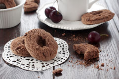 Chocolate cookie. Sweet chocolate cookie with cup of milk Stock Photo
