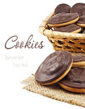 Chocolate cookie in the basket Stock Image