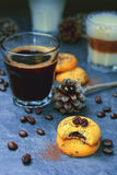 Chocolate cookie with black coffee Royalty Free Stock Images