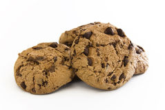 Chocolate cookie bunch. Buncho of chocolate cookies on white background royalty free stock photos