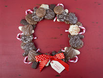 Chocolate cookie Christmas wreath. Stock Images