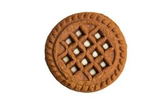 Chocolate cookie with cream filling isolated on white stock photo