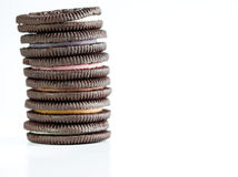 Chocolate cookie with cream stack Stock Images