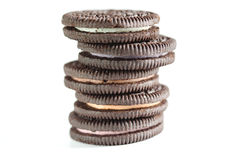 Chocolate cookie with cream stack close up Royalty Free Stock Photo