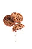 Chocolate cookie with crumbs side view Stock Photos