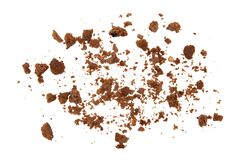 Chocolate cookie crumbs on a white background.