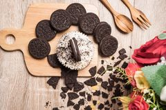 Chocolate cookie and cupcake Stock Image