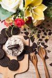 Chocolate cookie and cupcake Stock Photography