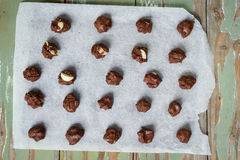 Chocolate cookie dough on a tray, ready for the oven Royalty Free Stock Image