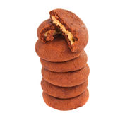 Chocolate cookie with filling isolated Royalty Free Stock Image