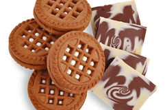 Chocolate cookie and milk chocolate Royalty Free Stock Photography