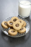 Chocolate cookie with milk on  table Stock Image