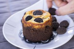 Chocolate cookie muffin with cookies royalty free stock photo