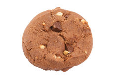 Chocolate cookie with nuts isolated Stock Photos