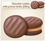 Chocolate cookie with peanut butter filling illustration. Cartoon vector icon. Series of food and drink and ingredients for cooking royalty free illustration