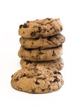 Chocolate cookie stack. Stack of chocolate cookies with single cookie in front stock image