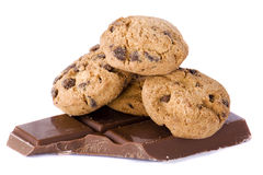 Chocolate cookies. On chocolate on a white background Stock Images