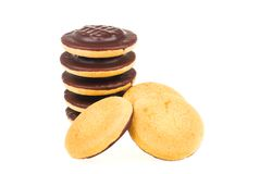 Chocolate cookies. Some chocolate cookies isolated on a white background Royalty Free Stock Photos