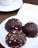 Chocolate cookies. With peanuts on plate Royalty Free Stock Photography