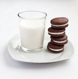 Chocolate cookies. Homemade chocolate cookies filled with cream Royalty Free Stock Image