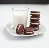 Chocolate cookies. Homemade chocolate cookies filled with cream Stock Images