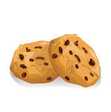 Chocolate cookies. Chip on white background Royalty Free Stock Photos