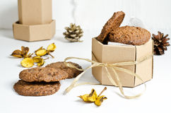 Chocolate cookies. Sweet home-made chocolate cookies in a gift box Royalty Free Stock Photo