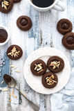 Chocolate cookies with almonds Stock Images