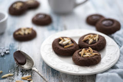 Chocolate cookies with almonds Royalty Free Stock Photos