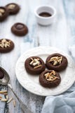 Chocolate cookies with almonds Royalty Free Stock Photography