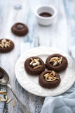 Chocolate cookies with almonds Stock Photo