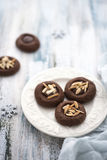 Chocolate cookies with almonds Stock Photos