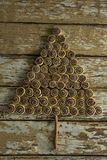 Chocolate cookies arranged in christmas tree shape Royalty Free Stock Photography