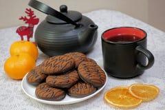Chocolate cookies and black tea utensils. Cup and teapot. Dried orange slices. Tea scene.  stock image