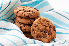 Chocolate cookies on blue napkin Royalty Free Stock Images