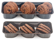 Chocolate cookies in box Stock Photos