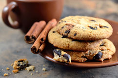 Chocolate cookies on a brown plate Stock Photos