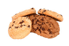 Chocolate cookies with chips isolated Stock Images
